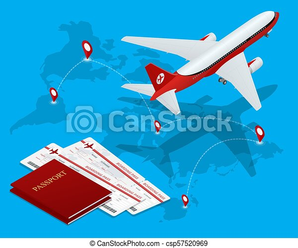 Travel and tourism background  Buying or booking online tickets  Travel,  Business flights worldwide  Air travel world globe airline tickets  Flat
