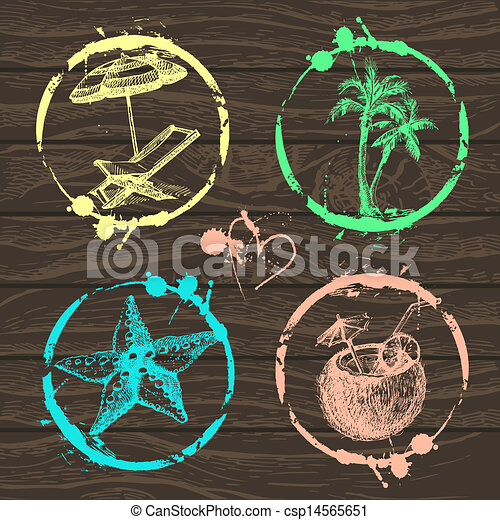 Travel and vacation stamp collection - for your design, scrapbook - in vector. Travel set with hand drawn illustrations  - csp14565651