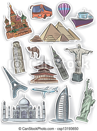 Travel And Vacation Stickers Set