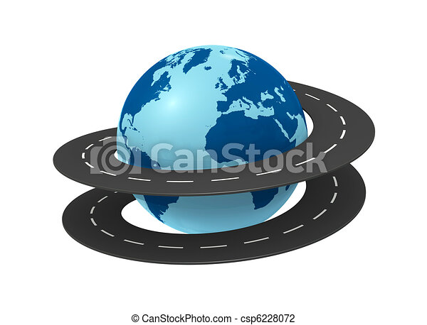 Line Art Earth : Travel around the world one earth globe with a road