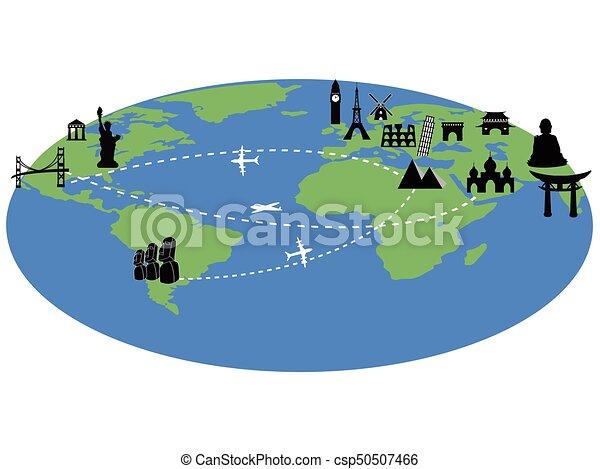 Travel Around The World With Landmarks Background
