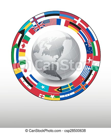 Travel background. Globe with a strip of flags. Vector. - csp28500638