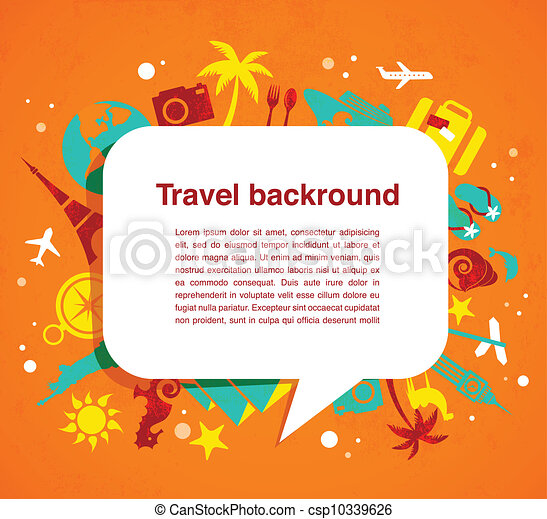 Travel background with speech bubble - csp10339626