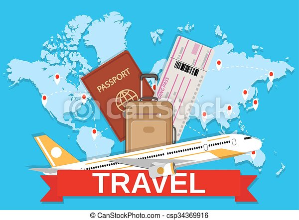 travel bag and world map - csp34369916