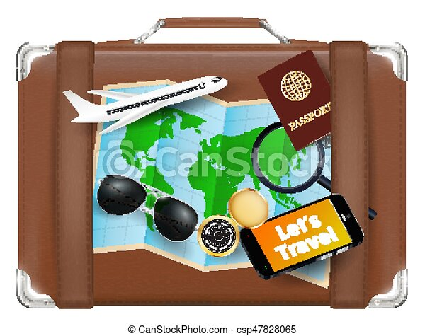 Travel bag with world map sunglasses compass passport plane smartphone travel bag with world map sunglasses compass passport plane smartphone csp47828065 gumiabroncs Image collections