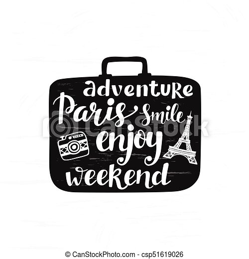 Travel Black And White Label Hand Lettering