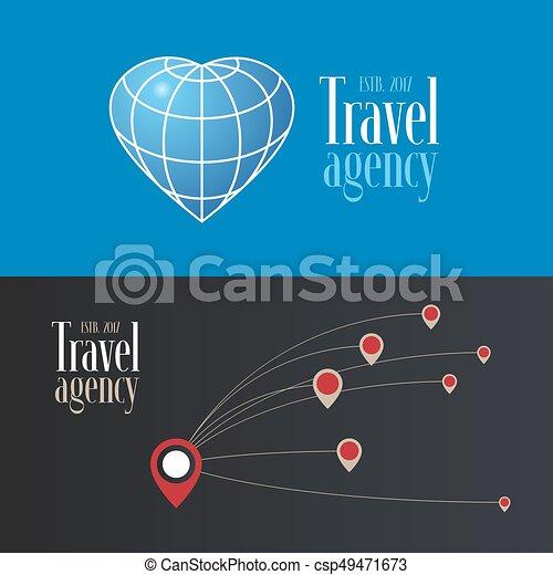 Travel company vector logo, icon collection