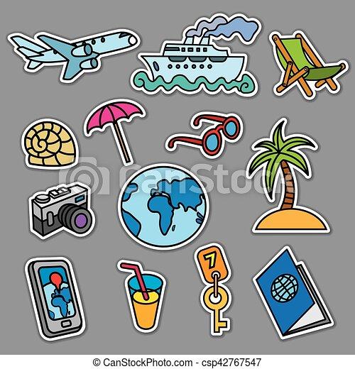 travel concept stickers - csp42767547