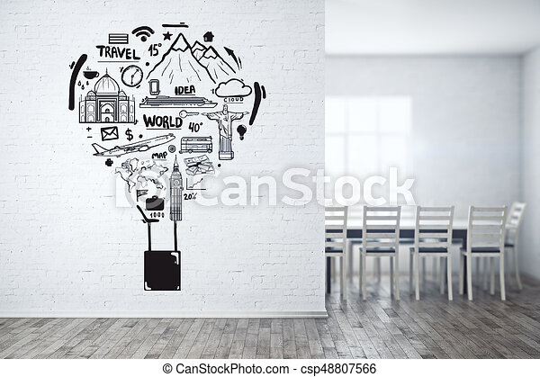 simple white brick boardroom with creative sketch on wall travel