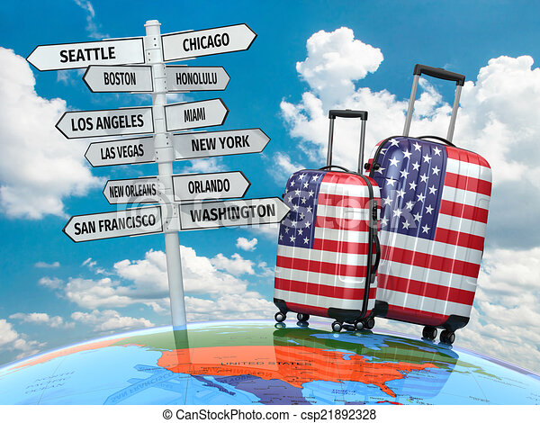 Travel concept. Suitcases and signpost what to visit in USA. - csp21892328