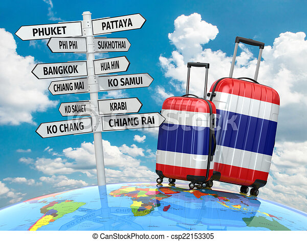 Travel concept. Suitcases and signpost what to visit in Thailand - csp22153305