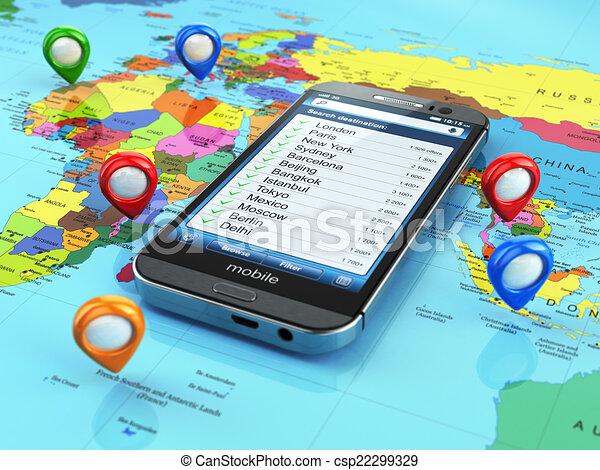 travel destination and tourism concept smartphone on world map csp22299329