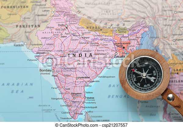 travel destination india map with compass csp21207557