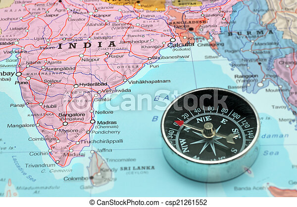 travel destination india map with compass csp21261552
