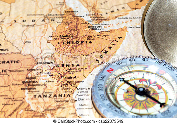 travel destination kenya ethiopia and somalia ancient map with vintage compass csp22073549