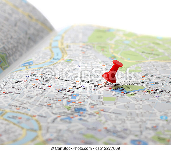 Travel destination map push pin - csp12277669