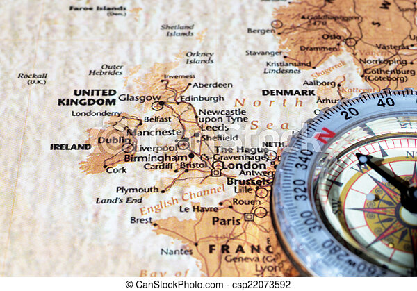Ancient Map Of Ireland.Travel Destination United Kingdom And Ireland Ancient Map With Vintage Compass