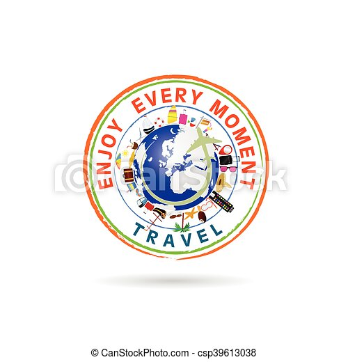travel grunge rubber stamp illustration in colorful - csp39613038