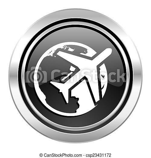 travel icon, black chrome button - csp23431172