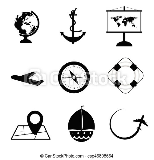 Travel Icon Set In Black And White Color Illustration