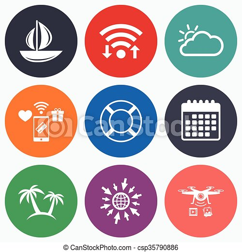 Travel Icons Sail Boat With Lifebuoy Signs Wifi Mobile Payments