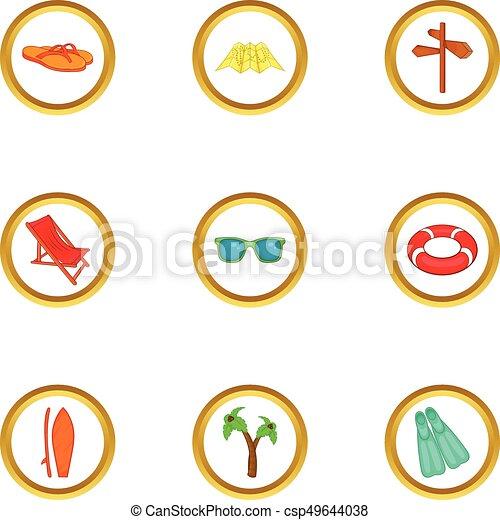 Travel icons set, cartoon style - csp49644038