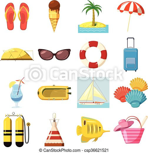 Travel Icons set, cartoon style - csp36621521