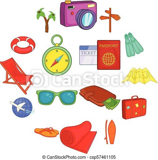 Travel icons set, cartoon style - csp57461105