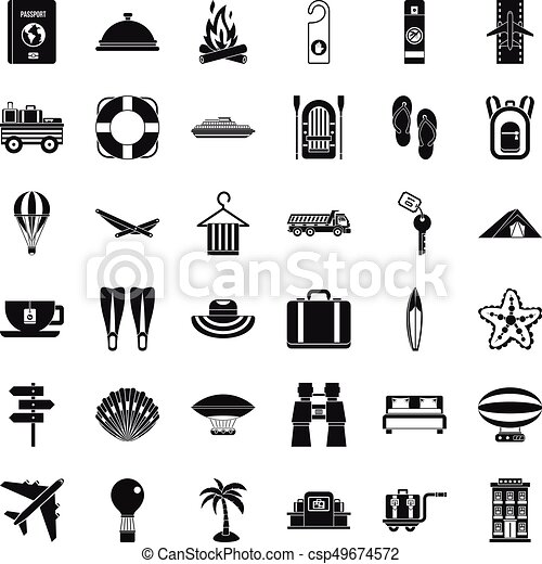 Travel in summer icons set, simple style