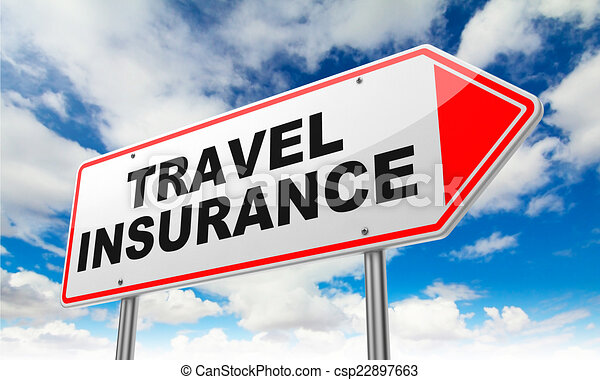 Travel insurance on red road sign. Travel insurance - inscription on red road sign on sky