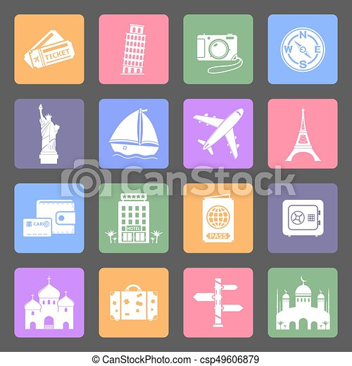 Travel & Landmarks flat icons set - csp49606879