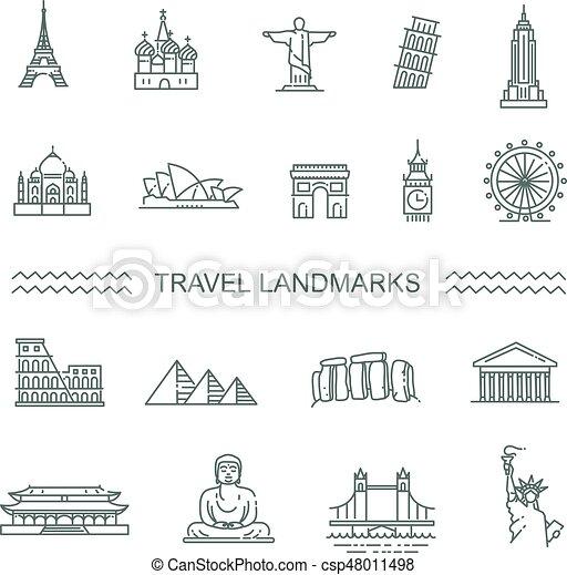 Travel landmarks line icon set - csp48011498