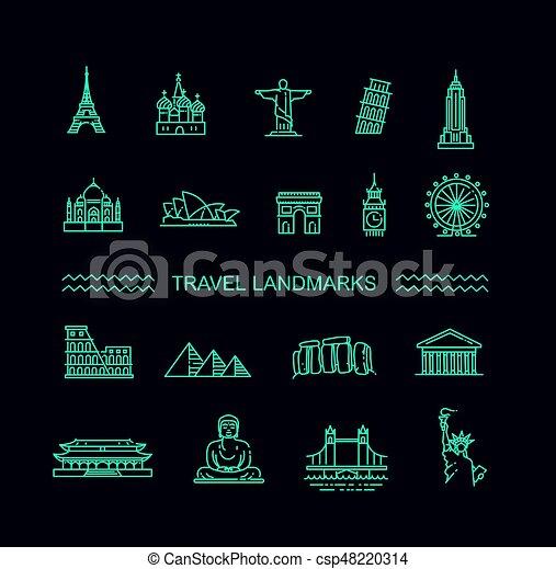 Travel landmarks line icon set - csp48220314