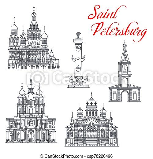 Travel landmarks of Saint Petersburg architecture - csp78226496