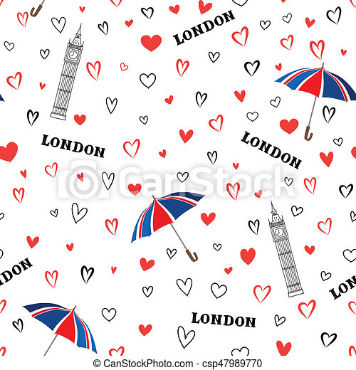 Travel London City Seamless Pattern With Love Hearts And Umbrella British Landmark Wallpaper European Vacation Background