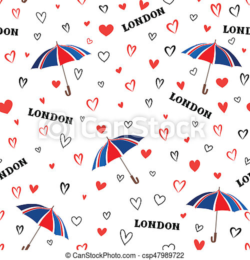 Travel London Seamless Pattern With Love Hearts And Umbrella
