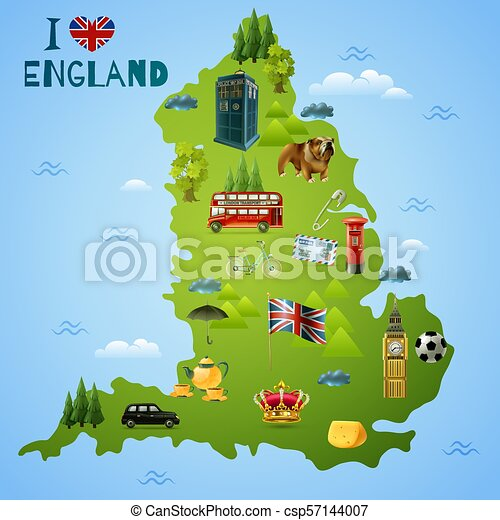 Travel map for england illustration. Travel map for england with