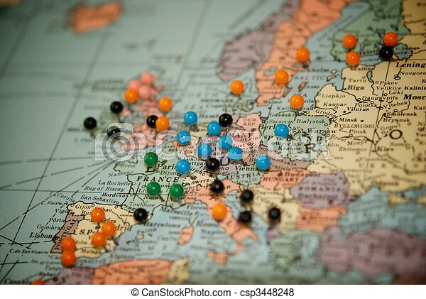 travel map with push pins paris csp3448248