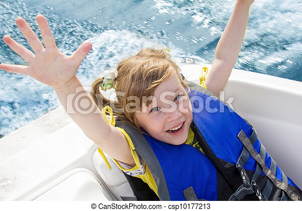 Travel of children on water in the boat - csp10177213