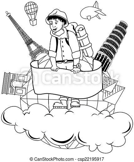 Travel Around The World Clipart Black And White