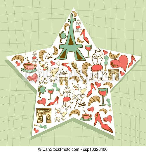 Travel Paris icon set star - csp10328406