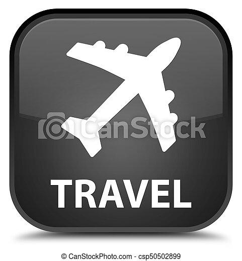 Travel (plane icon) special black square button - csp50502899