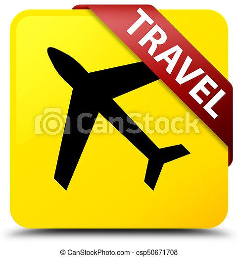 Travel (plane icon) yellow square button red ribbon in corner - csp50671708