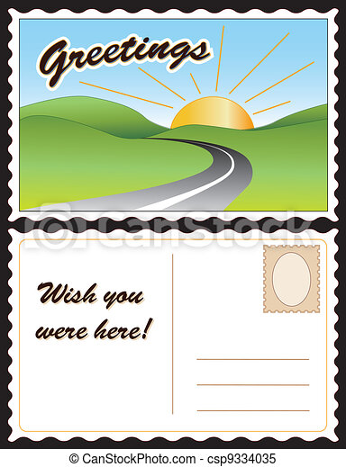 Travel postcard. Travel postcard, road, hills, sunny day ...