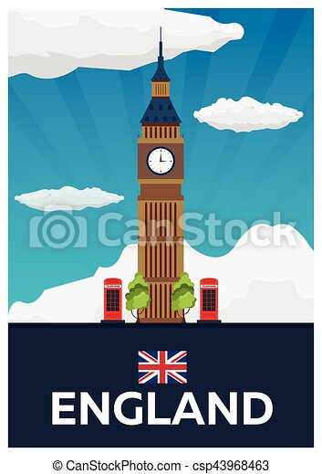 Travel poster to England. Big Ban. Vector flat illustration. - csp43968463
