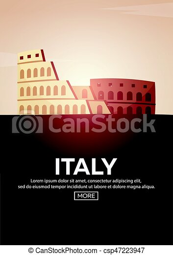 Travel poster to Italy. Landmarks silhouettes. Vector illustration. - csp47223947
