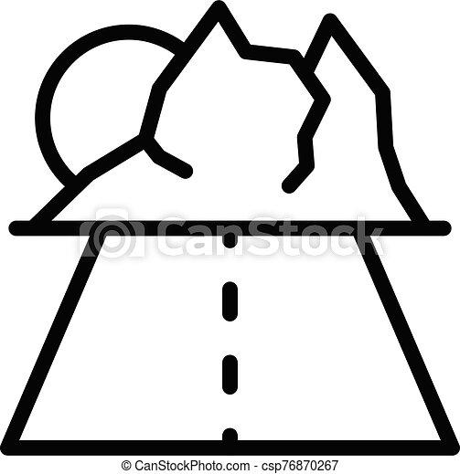 Travel road to mountains icon, outline style - csp76870267