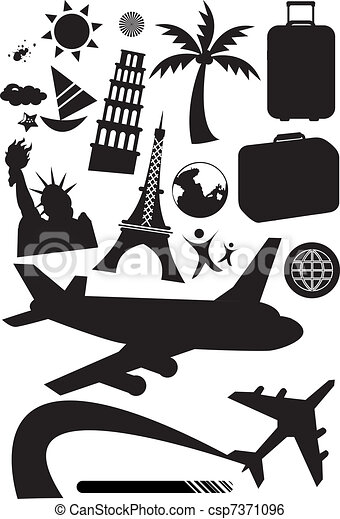 Travel Set Stock Vector Illustration Black And White Set Icons