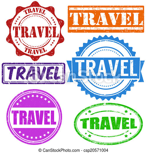 Travel Stamp Vintage Grunge Rubber Stamps Set On White