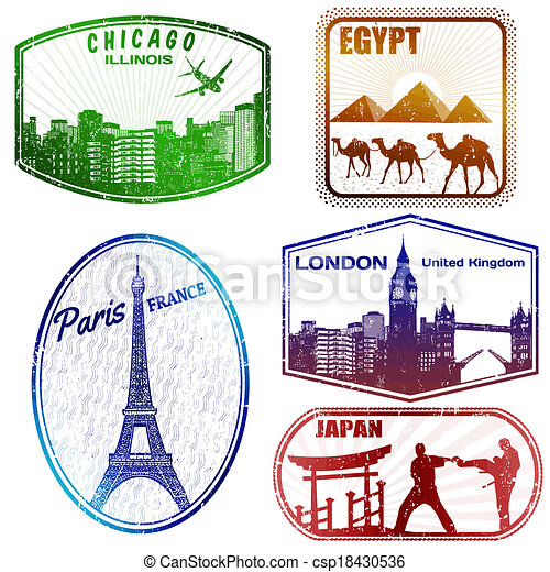 Travel stamps on white - csp18430536